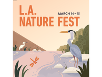 LA Nature Fest- Square science birds editorial illustration travel vector california wildlife nature design animals illustration