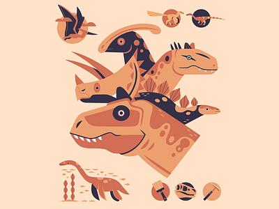 Dinosaurs adobe illustrator vector art vector dinosaur prehistoric dinosaurs natural history museum science nature illustration