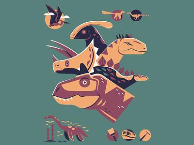 NHMLA Dinosaurs adobe illustrator museum natural history museum illustrated dinosaur dinosaur illustration prehistoric dinosaurs vector nature design illustration