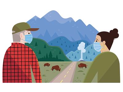 LA Affairs: Pandemic Roadtrip roadtrip editorial illustration travel nature animals vector