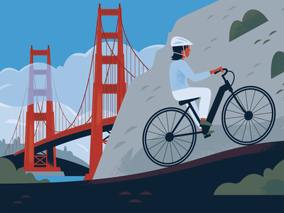 E Bikes in the National Parks san francisco editorial illustration outdoors fitness bicycle biking national parks travel poster wpa golden gate bridge california vector illustration