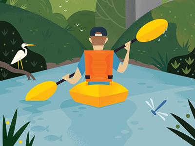 Buffalo Bayou travel illustration travel texas houston wildlife nature sports illustration kayaking design illustration