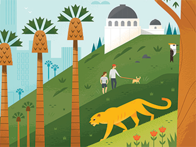 Los Angeles Mural: Hollywood Hills animals mountain lion vacation illustration california hikers hiking los angeles