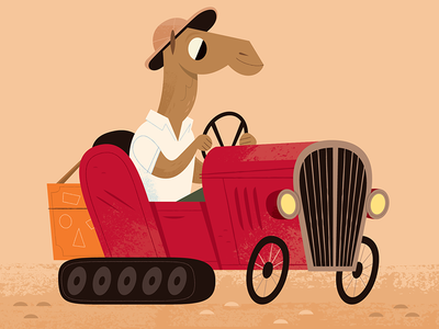 Sahara Racer midcentury vehicles camel animals childrens illustration childrens book character design illustration