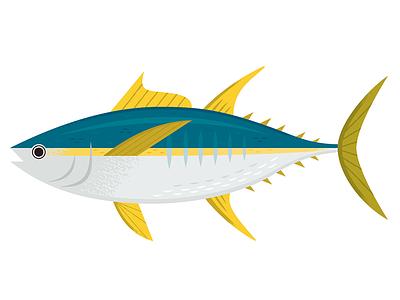 Tuna ocean nature animals seafood fish icon illustration