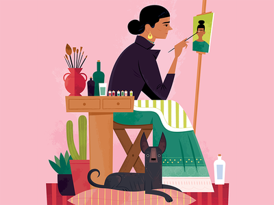 Frida and her Xolo Dog editorial illustration pink artists animals pet portraits dog women illustrated women mexico frida kahlo portraits illustration