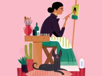 Frida and her Xolo Dog