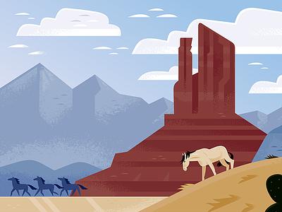 Wild Horse Country nature desert travel illustration america wild west westerns vector travel mustangs horses animals illustration