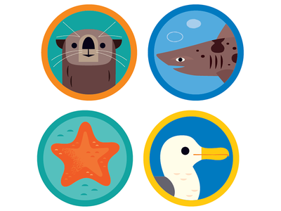 Ocean Icons california animal icons icon design icons beach shark otter sea life ocean animals illustrations