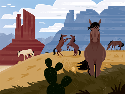 Wild Horses cowboys travel illustration travel utah wild west mustangs nature science horse wildlife animals illustration