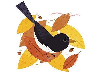 Leaf Litter bird watching autumn fall adobe illustrator vector animal wildlife nature birds bird