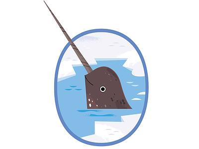 Narwhal polar animals oceans whales arctic animals icon design science vector wildlife nature animals illustration