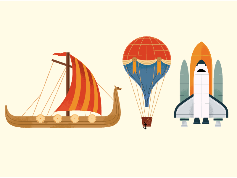 From here to there travel balloon viking technology history book icon history icon design vector graphic design illustration