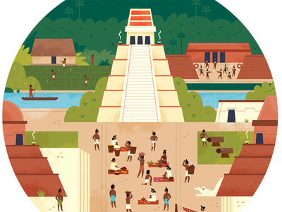 Mayan city central america exploration travel design pyramid mexico mesoamerica mayans historical illustration history illustration