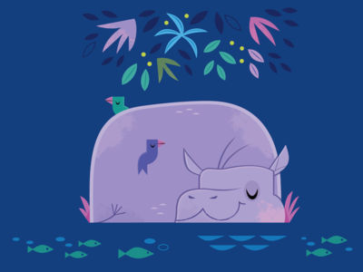 Sleepy Hippo kids lit wildlife nature mascot hippopotamus jungle vector animals character design illustration