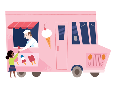 Ice Cream Truck vector midcentury spot illustration ice cream truck ice cream childrens book kids lit children illustration