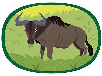 Wildebeest africa african animals vector wildlife nature animals illustration