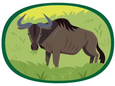 Wildebeest africa african animals vector wildlife nature animals illustration