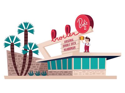 Bob's Big Boy los angeles midcentury branding travel california icon design graphic design vector illustration