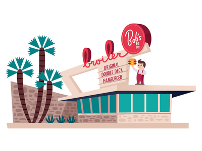 Bob's Big Boy los angeles midcentury branding travel california icon design graphic design vector illustration