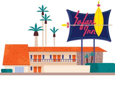 Safari Inn googie midcentury travel vector graphic design california design illustration