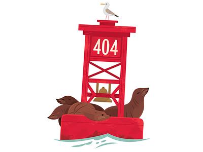 404 Buoy aquarium sea lions ocean travel california wildlife nature animals illustration