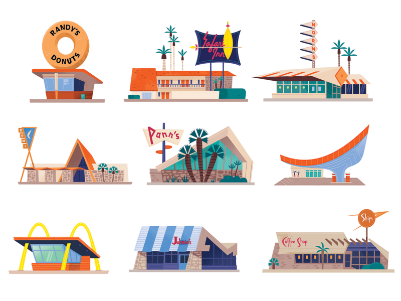 Googie Icons architecture icons architecture midcentury los angeles icon design california design illustration