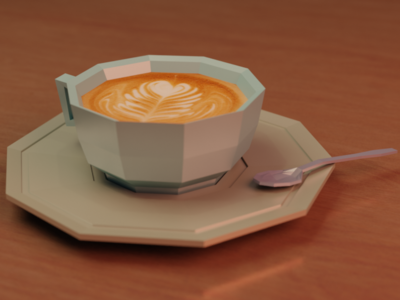 Low poly: Want some coffee? creative design 3d art food cute blender3d b3d low poly blender coffee