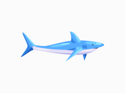 Shark blue shark digital art daily 3d illustration vector adobe illustrator minimal design