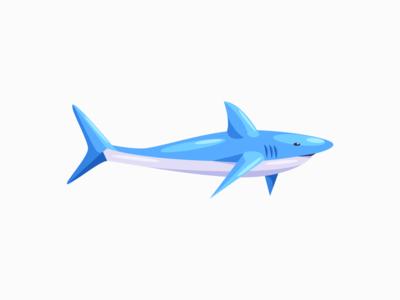 Shark blue shark digital art daily 3d illustration vector adobe illustrator minimal design