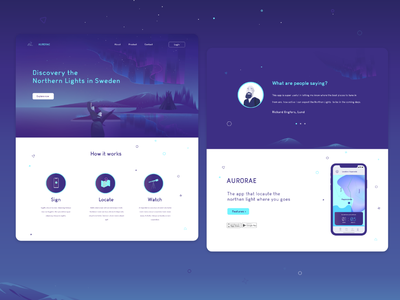 Visual Language - Aurorae website interaction ui ux nordig lights sweden winter concept page webb gradient illustration design typography