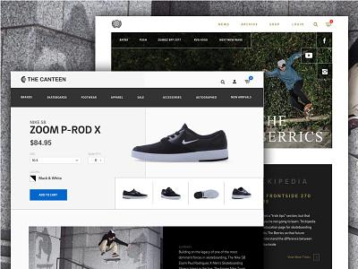 E-commerce skateboarding blog skateboarding ui ux design web ecommerce
