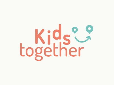 Kids together happy face kids traveling identity brand logo