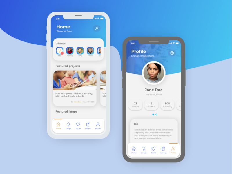 Lamp ux ios interface illustrator icon concept color clean app design app mock-up gradient ui adobe xd profile card blue