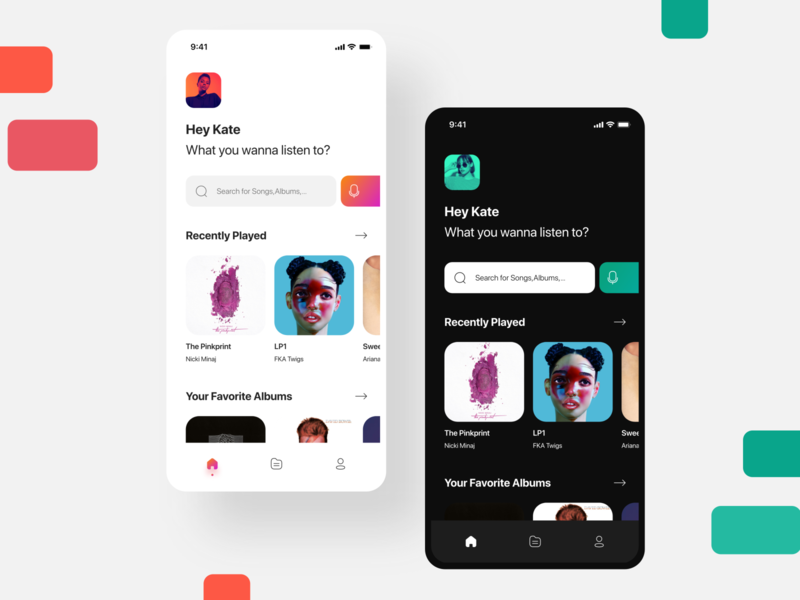 Music Streaming App light minimal music app mobile dark ui design