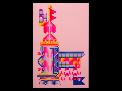 Pixelated 2 retro 90s 80s pomo postmodern pixel art illustration andy gregg studio super art print print design print risography risograph riso