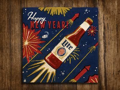 Miller Lite New Year's miller retro offset firework bottle lettering beer miller lite its miller time illustration