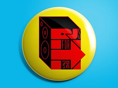 DJs for Hillary (Concept 1) branding 2016 election hillary clinton hillary election button pin 2016 dj
