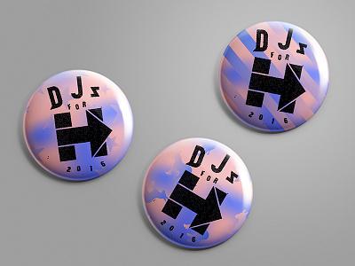 DJs for Hillary (Concept 2) branding 2016 election hillary clinton hillary election button pin 2016 dj