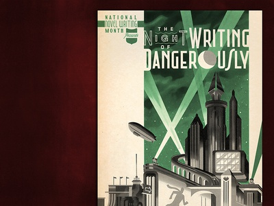 The Night of Writing Dangerously 2016 the night of writing dangerously worlds fair writing blimp typography type lettering 1940s 1930s noir deco retro