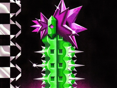 Dreamz cactus pattern neon color airbrush 90s 80s poster postmodernism illustration