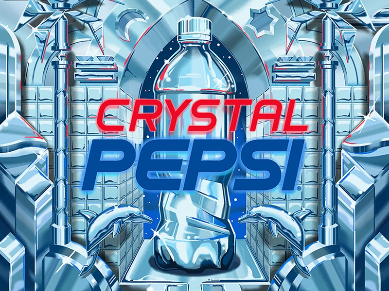 Crystal Pepsi postmodern studio super andy gregg design palm tree 90s crystal pepsi pepsi dolphin chrome illustration poster