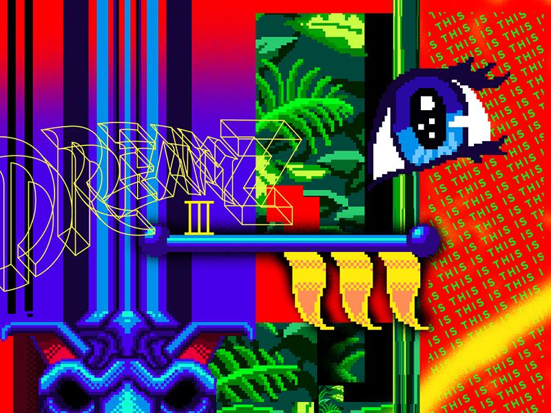 Dreamz 3 dreamz foliage illustration eye collage pixel type design pixel art lettering