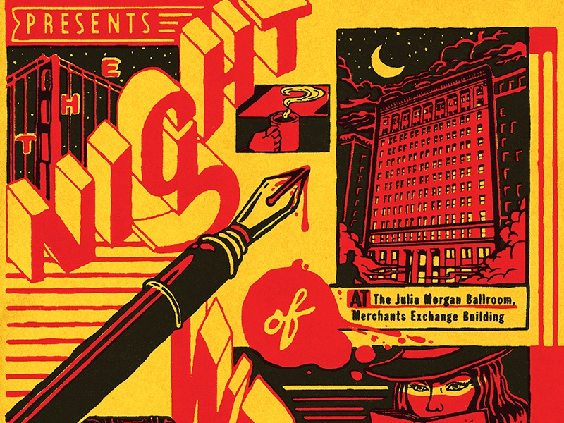 The Night of Writing Dangerously 2017 the night of writing dangerously san francisco hand lettered julia morgan typography retro noir lettering mystery 1940s 1930s