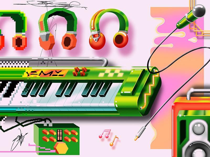 Get Better, Faster splice polygon headphones speaker illustration pixel art pixel keyboard piano music neon editorial