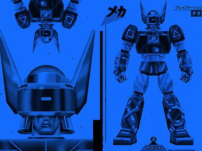 PlayStation Bot Shirt Design video game lettering illustration retro voltron studio super airbrush 45 irving sony playstation robot mech