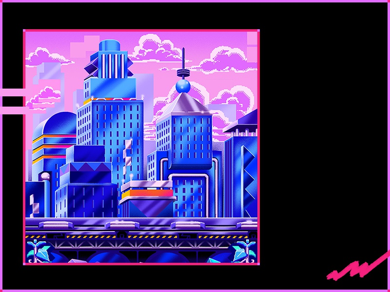 Simulated City™ level art postmodern pixel art 90s 80s retro neon illustration city