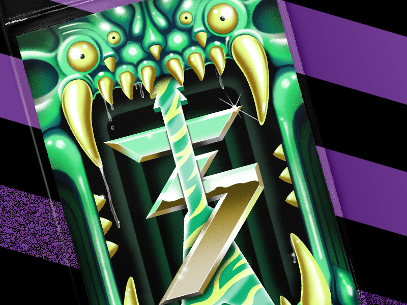 Splice 3 Year Badge slime splice airbrush zebra guitar monster metal af metal