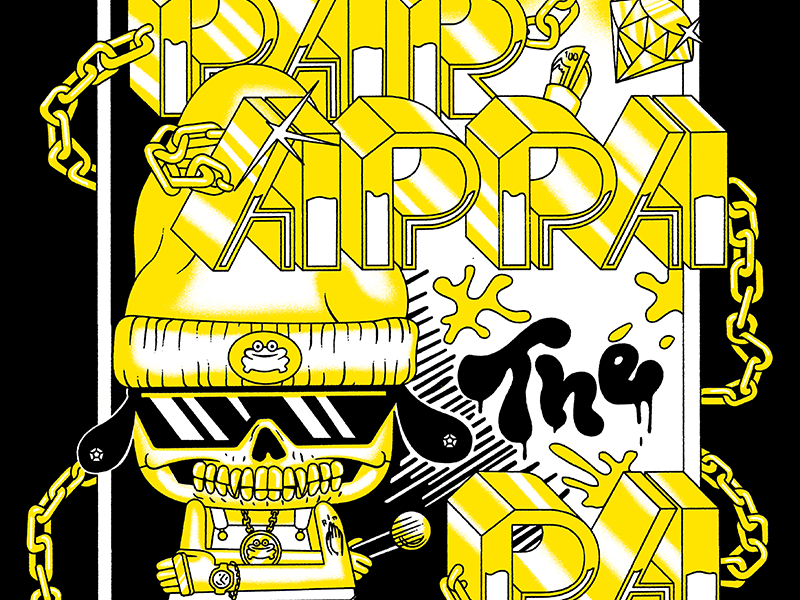 PaRappa Comic Shirt Design gangsta type illustration lettering comic sony playstation hip hop rap 90s parappa the rappa parappa
