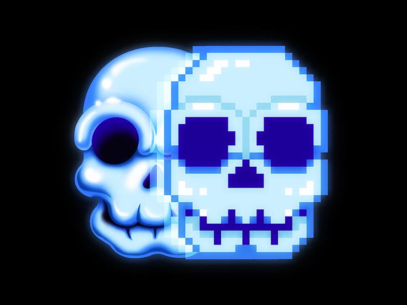 Future Diseases - Technology-Induced Dysphoria digital pixel art retro skull airbrush 90s 80s spot illustration future disease editorial illustration medium